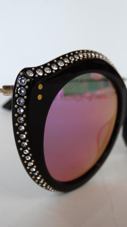 Purple Gucci Rhinestone Cat Eye Color Shifting Sunglasses For Sale