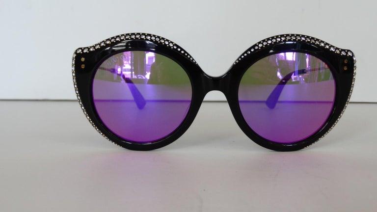 Gucci Rhinestone Cat Eye Color Shifting Sunglasses For Sale 8