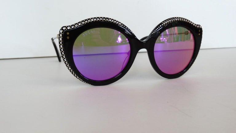 Gucci Rhinestone Cat Eye Color Shifting Sunglasses For Sale 10