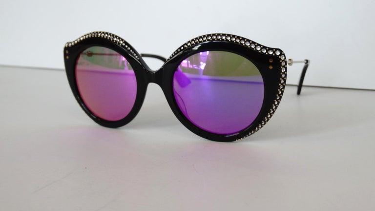 Gucci Rhinestone Cat Eye Color Shifting Sunglasses For Sale 12