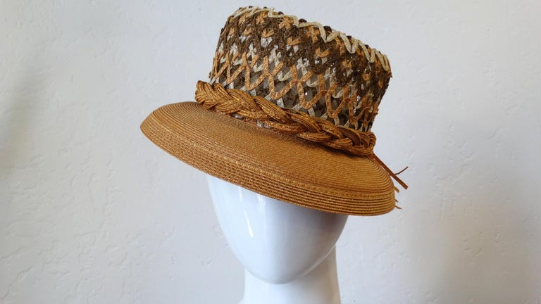 Women's Yves Saint Laurent Woven Straw Boater Hat, 1960s  For Sale