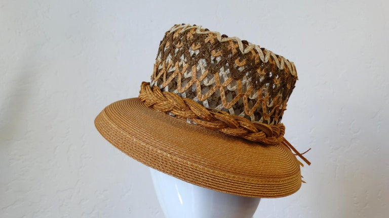 Yves Saint Laurent Woven Straw Boater Hat, 1960s  For Sale 6