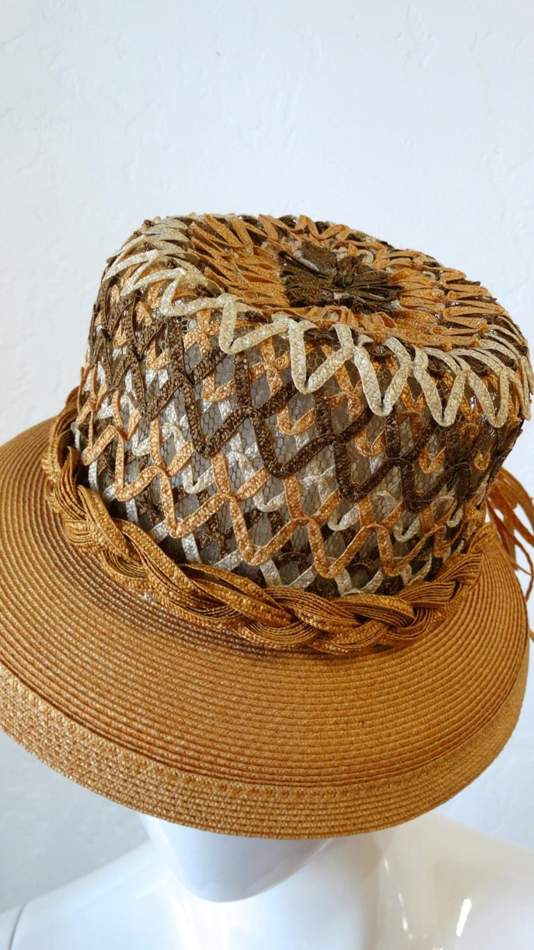 Yves Saint Laurent Woven Straw Boater Hat, 1960s  For Sale 1