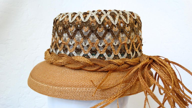 Yves Saint Laurent Woven Straw Boater Hat, 1960s  For Sale 2