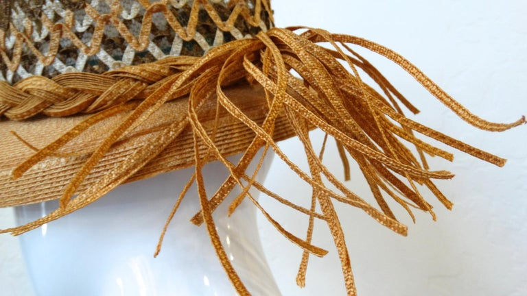 Yves Saint Laurent Woven Straw Boater Hat, 1960s  In Excellent Condition For Sale In Scottsdale, AZ