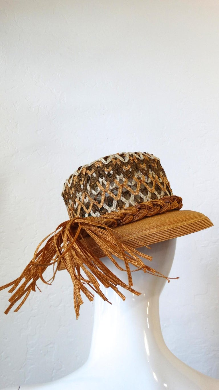 Yves Saint Laurent Woven Straw Boater Hat, 1960s  For Sale 5