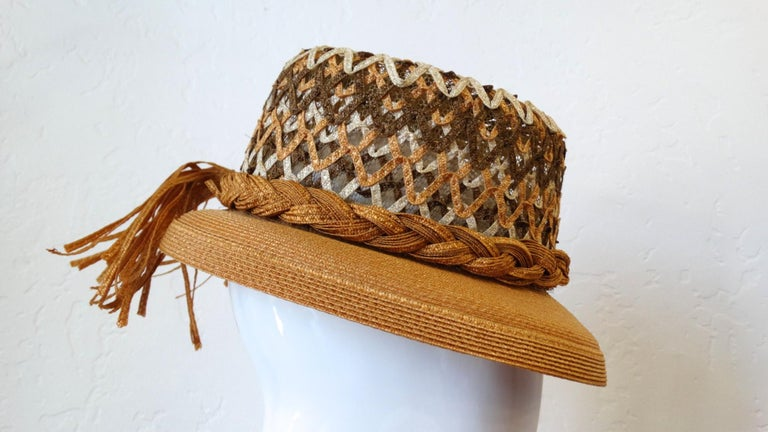 Yves Saint Laurent Woven Straw Boater Hat, 1960s  For Sale 4