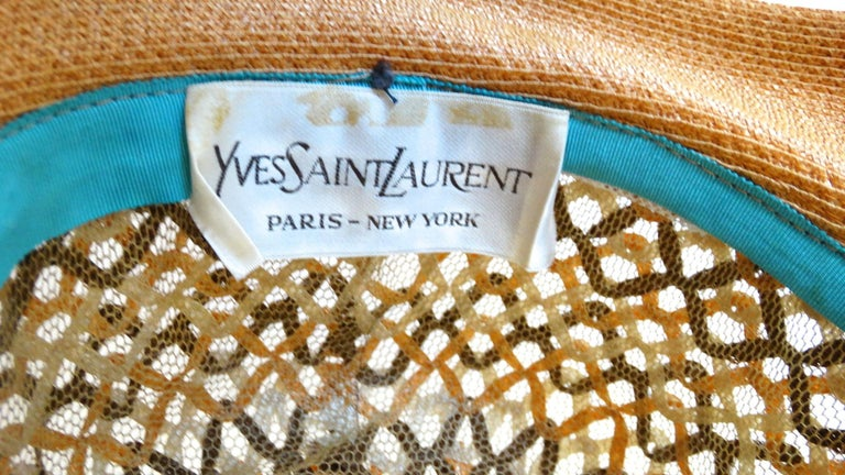 Brown Yves Saint Laurent Woven Straw Boater Hat, 1960s  For Sale