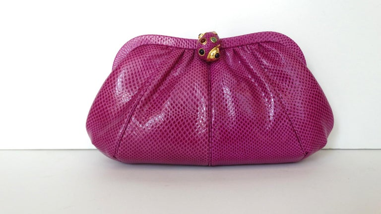 1980's Judith Leiber Purple Lizard & Leather Clutch  For Sale 13