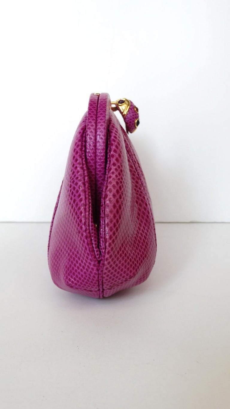 1980's Judith Leiber Purple Lizard & Leather Clutch  For Sale 6
