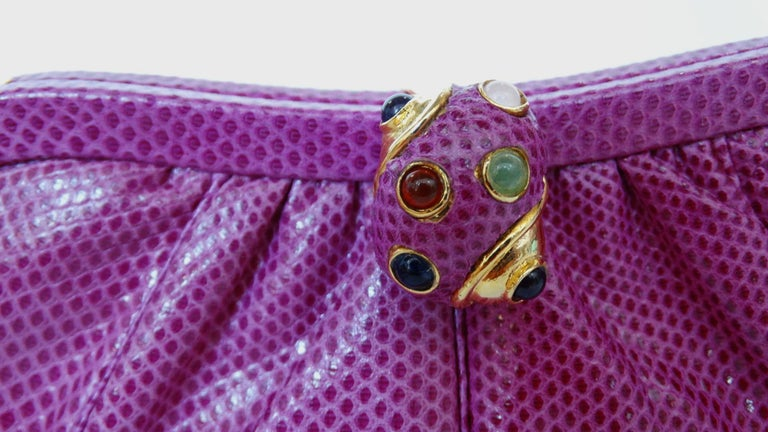 1980's Judith Leiber Purple Lizard & Leather Clutch  For Sale 8