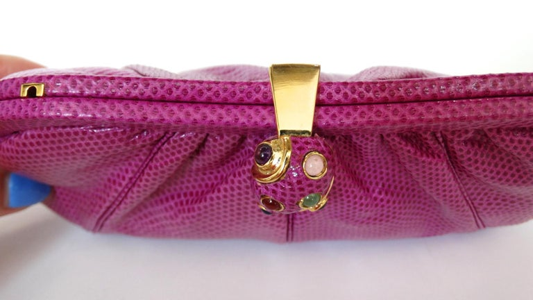 1980's Judith Leiber Purple Lizard & Leather Clutch  For Sale 1
