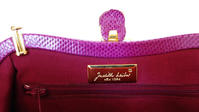 Women's 1980's Judith Leiber Purple Lizard & Leather Clutch  For Sale