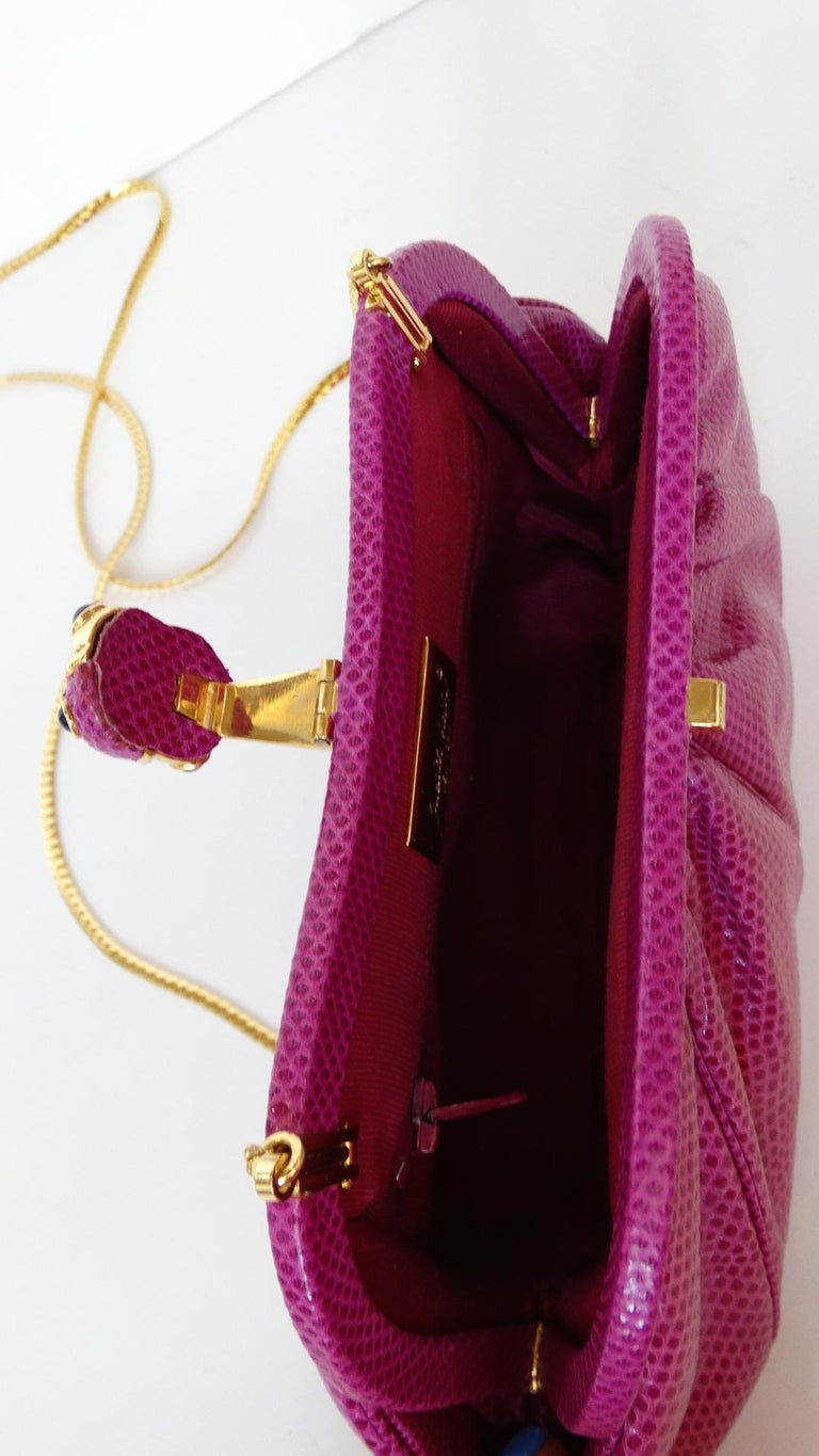 1980's Judith Leiber Purple Lizard & Leather Clutch  For Sale 4