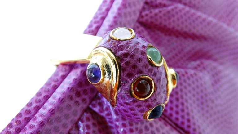 1980's Judith Leiber Purple Lizard & Leather Clutch  For Sale 10