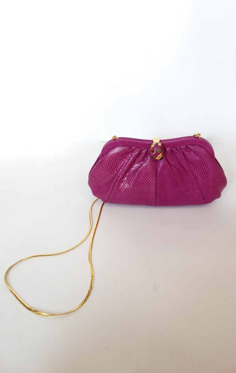 1980's Judith Leiber Purple Lizard & Leather Clutch  For Sale 11