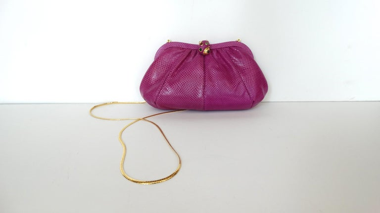 1980's Judith Leiber Purple Lizard & Leather Clutch  For Sale 3