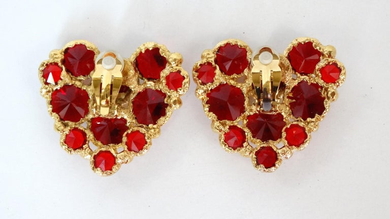 1980's Christian Lacroix Red Gripoix Heart Earrings  In Excellent Condition For Sale In Scottsdale, AZ