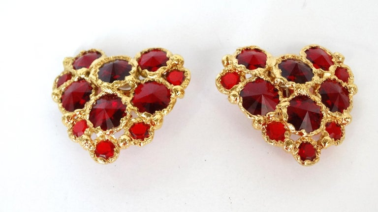 1980's Christian Lacroix Red Gripoix Heart Earrings  For Sale 3