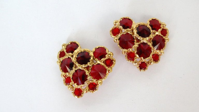 1980's Christian Lacroix Red Gripoix Heart Earrings  For Sale 5