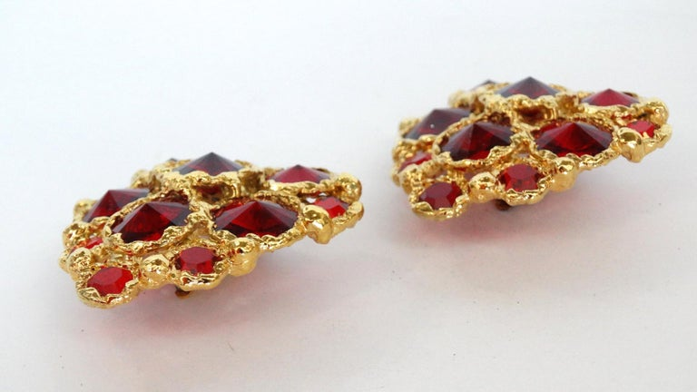1980's Christian Lacroix Red Gripoix Heart Earrings  For Sale 4