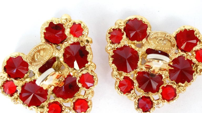 1980's Christian Lacroix Red Gripoix Heart Earrings  For Sale 1