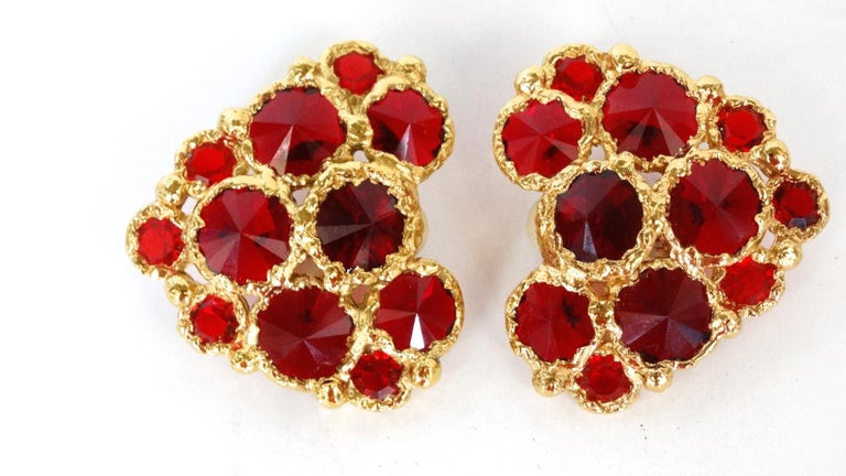 1980's Christian Lacroix Red Gripoix Heart Earrings  For Sale 2
