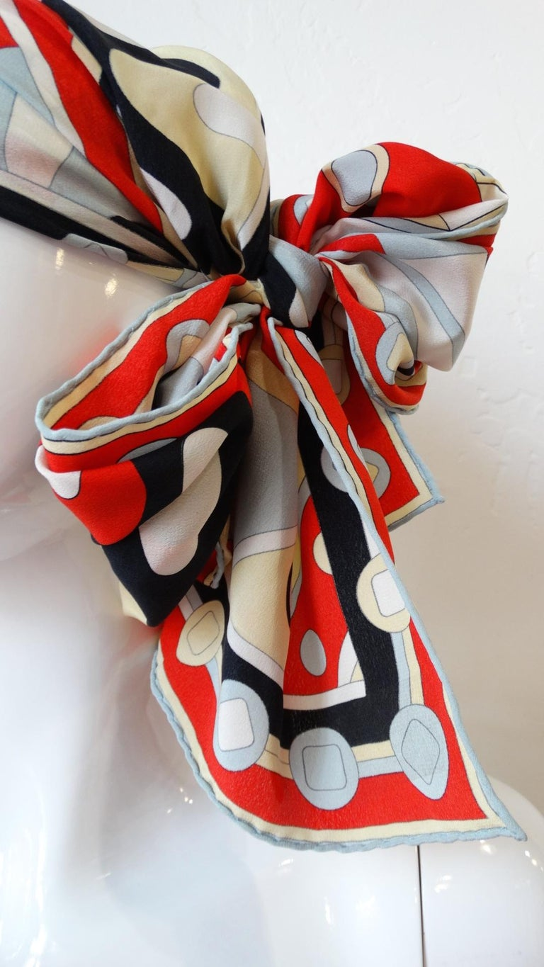 1980's Emilio Pucci Red Geometric Printed Silk Scarf  In Excellent Condition For Sale In Scottsdale, AZ