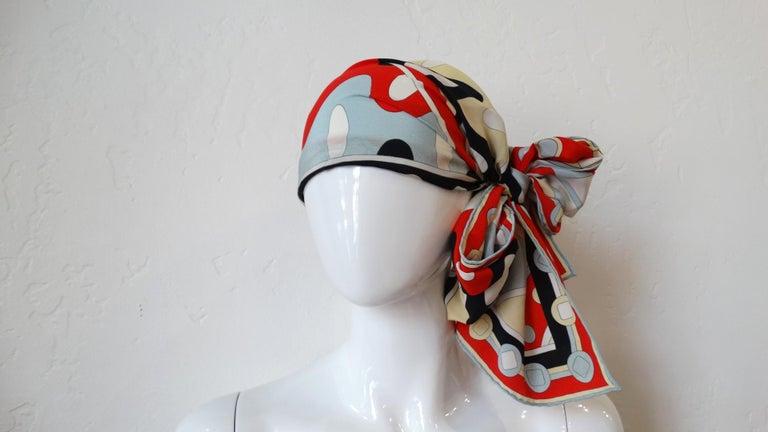 1980's Emilio Pucci Red Geometric Printed Silk Scarf  For Sale 8