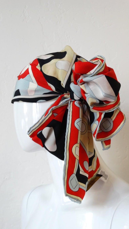 1980's Emilio Pucci Red Geometric Printed Silk Scarf  For Sale 3