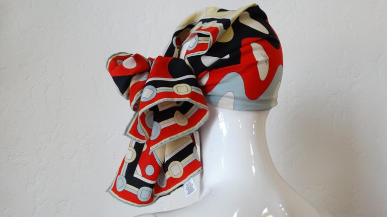 Gray 1980's Emilio Pucci Red Geometric Printed Silk Scarf  For Sale