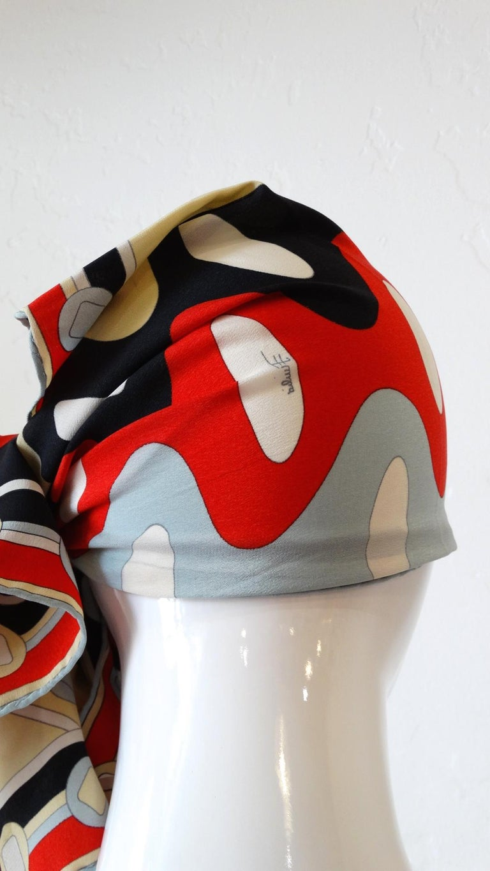1980's Emilio Pucci Red Geometric Printed Silk Scarf  For Sale 5