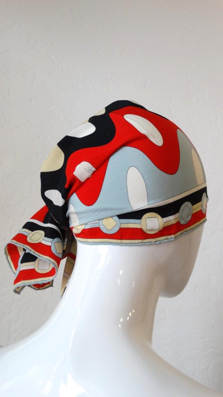 1980's Emilio Pucci Red Geometric Printed Silk Scarf  For Sale 7
