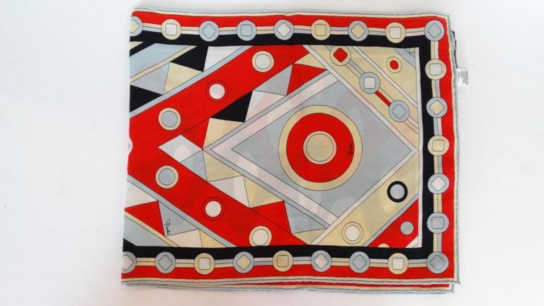 1980's Emilio Pucci Red Geometric Printed Silk Scarf  For Sale 6