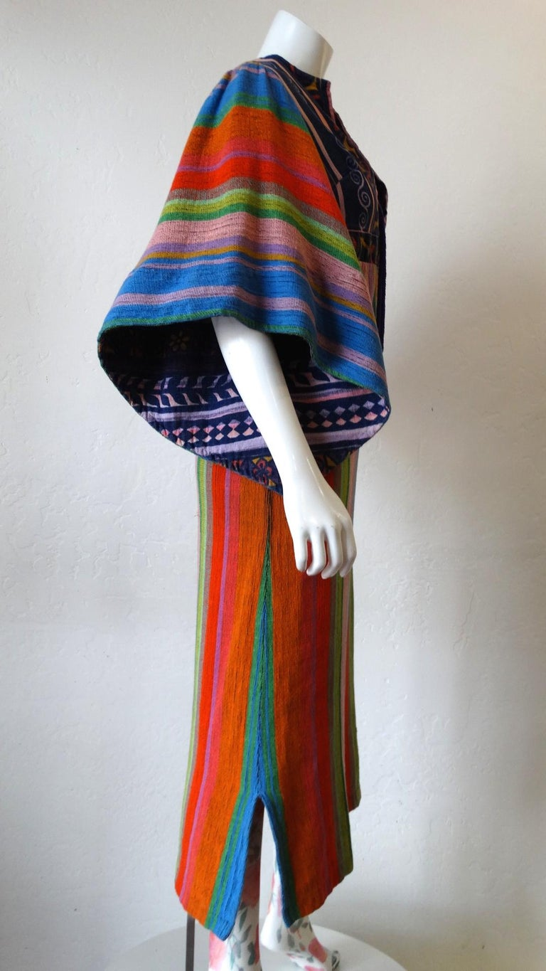 1970s Rikma Angel Sleeve Striped Dress For Sale 5