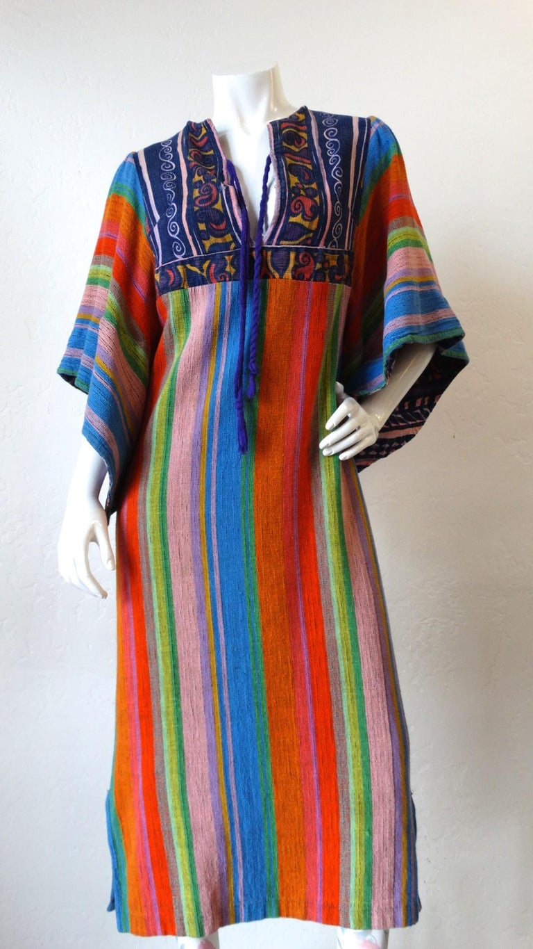 1970s Rikma Angel Sleeve Striped Dress For Sale 7