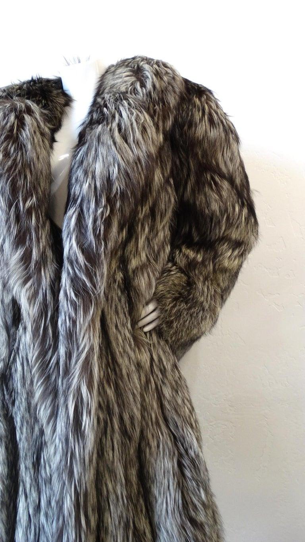 Women's Rare 1980s James Galanos Silver Fox Fur Coat  For Sale