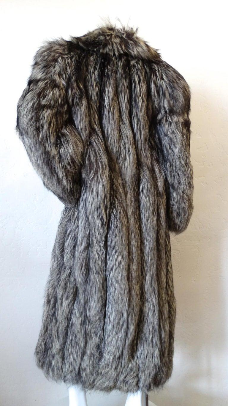Rare 1980s James Galanos Silver Fox Fur Coat  For Sale 9