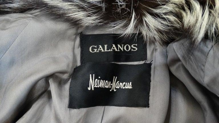 Black Rare 1980s James Galanos Silver Fox Fur Coat  For Sale