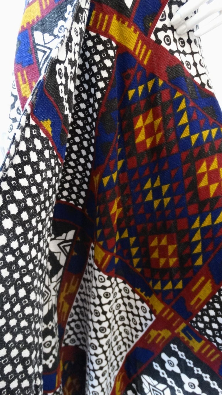 1970s Rikma Patchwork Printed Wrap Skirt  For Sale 5