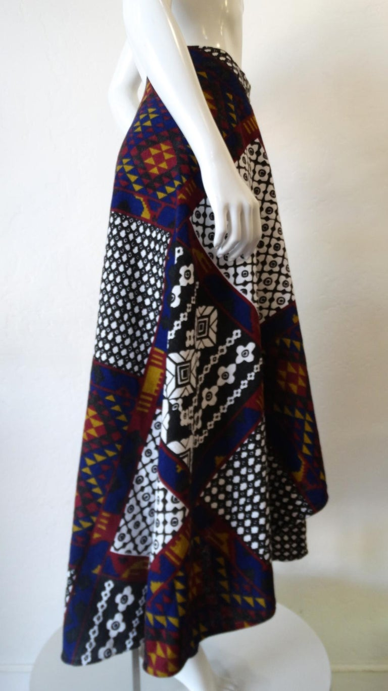 1970s Rikma Patchwork Printed Wrap Skirt  For Sale 6