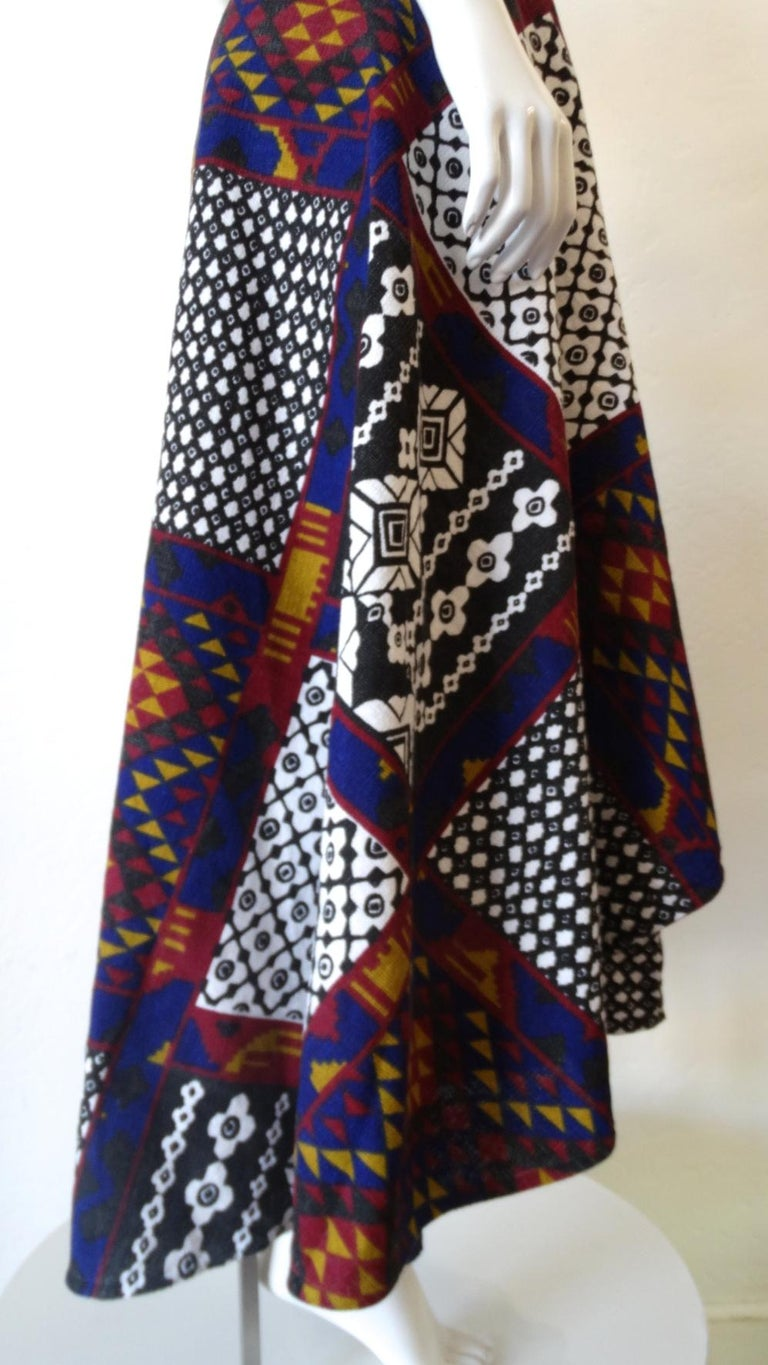 1970s Rikma Patchwork Printed Wrap Skirt  For Sale 4