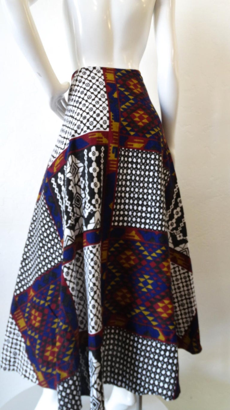 1970s Rikma Patchwork Printed Wrap Skirt  For Sale 7