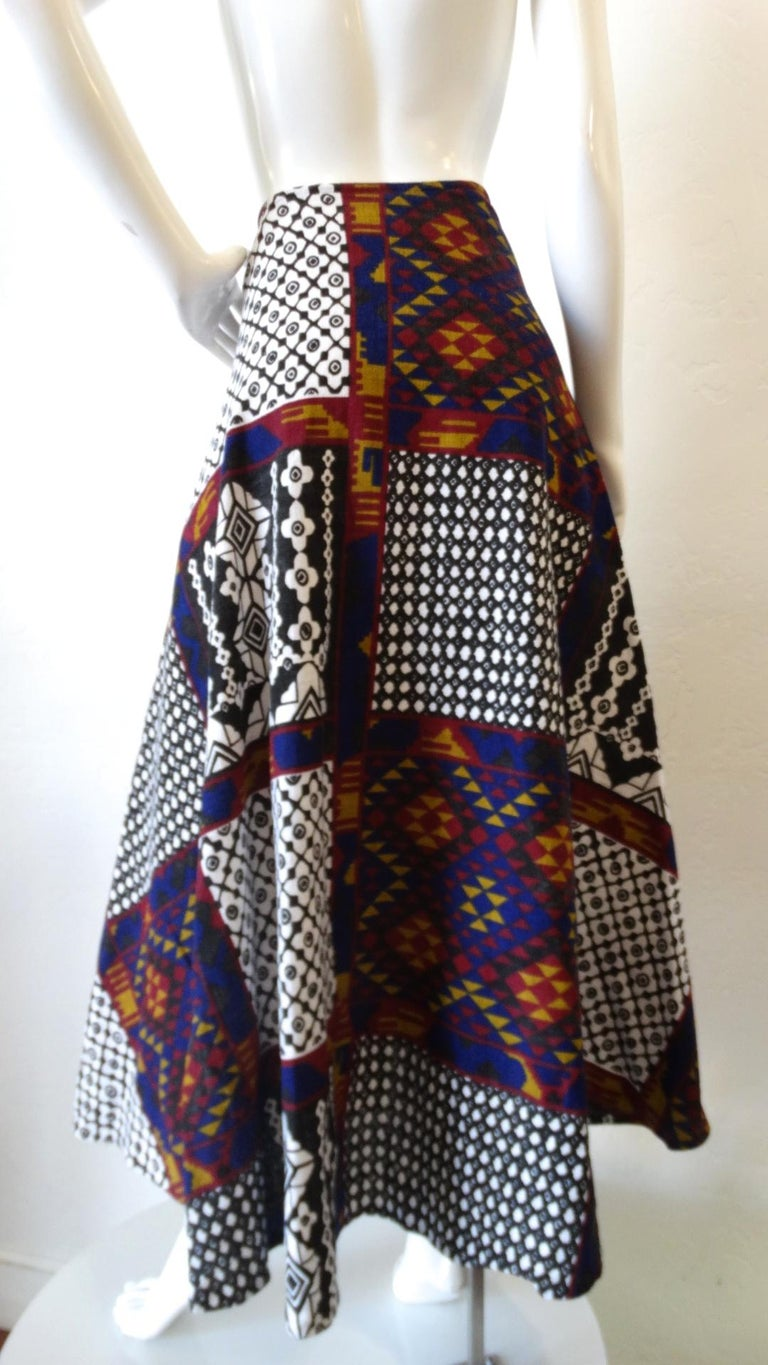 1970s Rikma Patchwork Printed Wrap Skirt  In Excellent Condition For Sale In Scottsdale, AZ