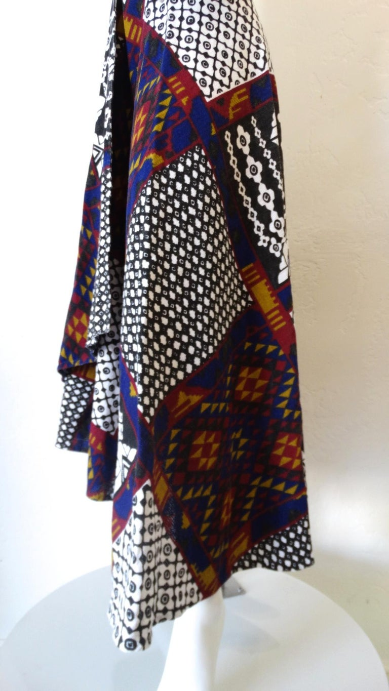 1970s Rikma Patchwork Printed Wrap Skirt  For Sale 1