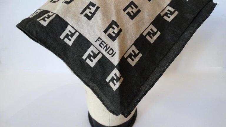 Black 2000s Fendi Zucca Print Cotton Scarf  For Sale
