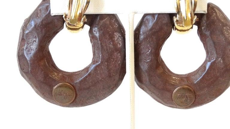 1980s Kalinger Paris Hoop Earrings  For Sale 3