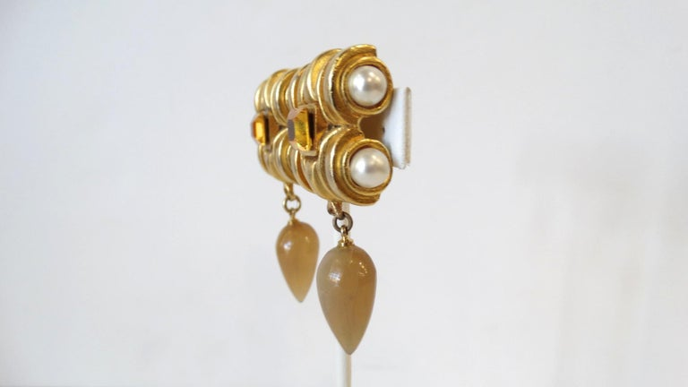 Women's or Men's Gold Plated & Amber Crystal Clip On Earrings  For Sale