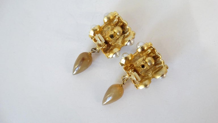 Gold Plated & Amber Crystal Clip On Earrings  In Good Condition For Sale In Scottsdale, AZ