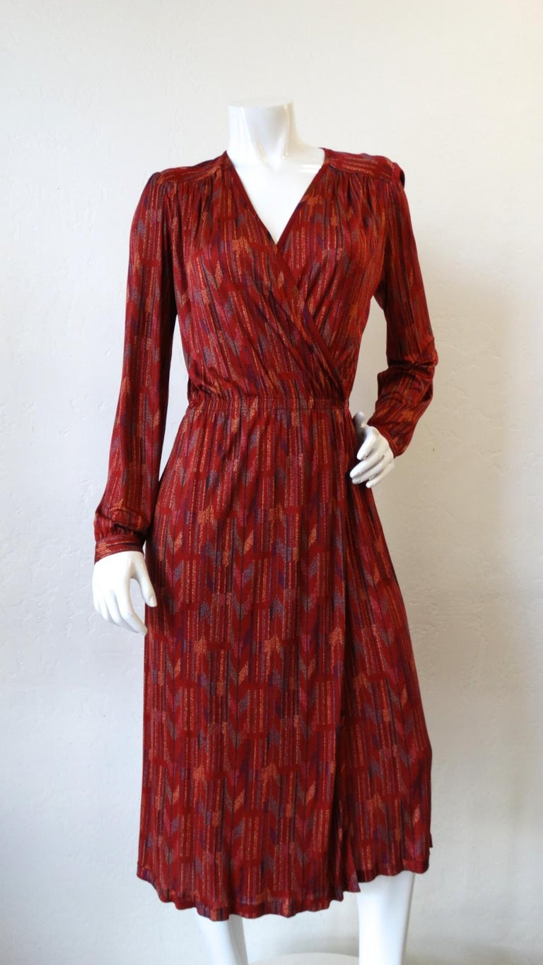 1970s Missoni Silk Wrap Dress with Rope Belt For Sale 14